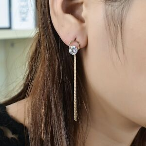 New-925-Sterling-Silver-Elegant-8mm-Crystal-Long-Dangle-Tassel-Stud-Earrings