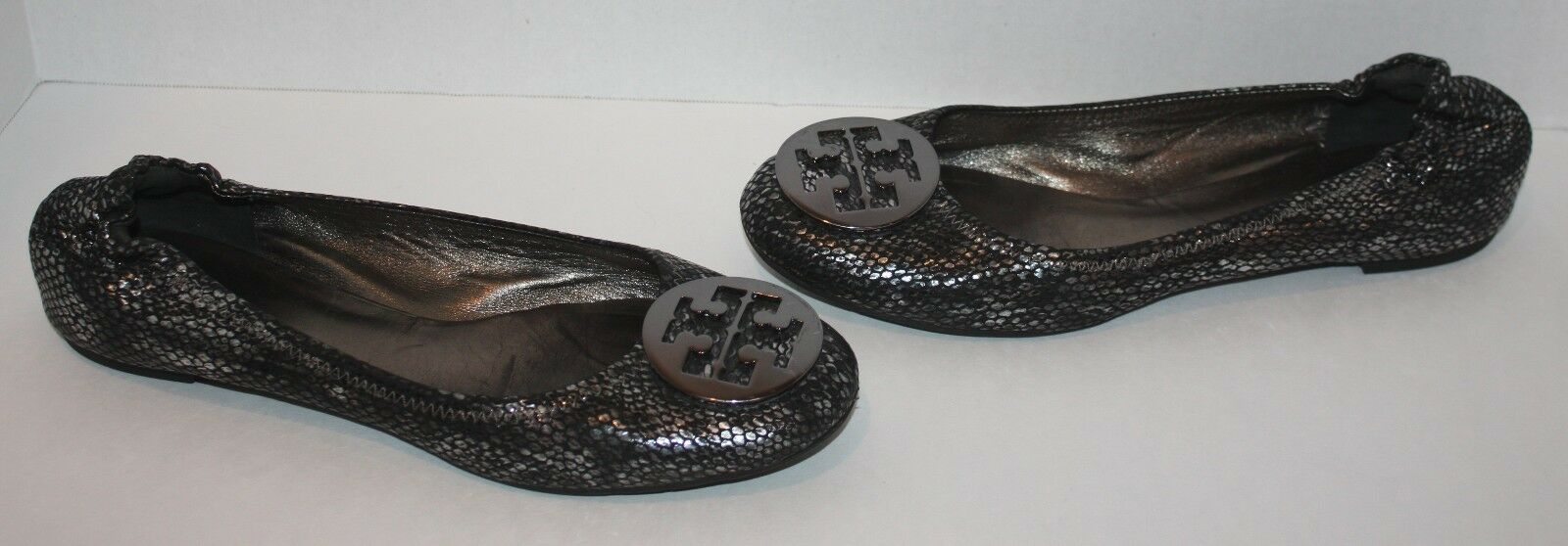 Womens $235 Tory Burch Silver Reva Plated Snake Print Flats Shoes Size 9.5 M