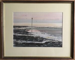 Watercolour-Evening-Calm-At-Low-Water-Margate-1988-Signed-Alan-W-Shelley-Paintin
