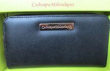 Catherine Malandrino NIB Large Zip Around Black Genuine Leather Purse Wallet.