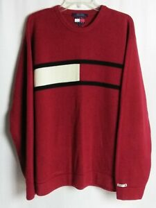 8d84aeab4b6 Tommy Hilfiger Womens Big Flag Logo Vintage 90s Cotton Knit Red ...