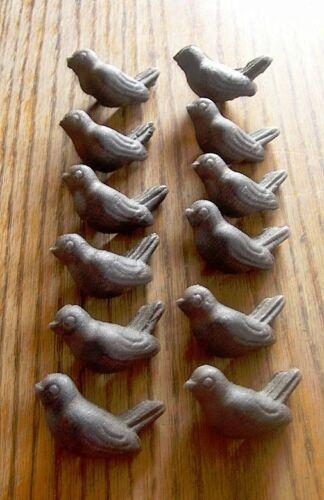 Set-24  Cast Iron-Resting  Bird Drawer Pull Knob  W//Screws  CRAFTS Rustic Brown