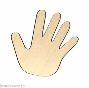 Child-039-s-Hand-Unfinished-Wood-Shape-Cut-Out-CH860-Laser-Crafts-Lindahl-Woodcrafts