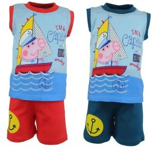 43665a07660a7 Details about Boys Girls Peppa Pig George Short Sleeves T Shirt Shorts  Sleeveless Set Outfit