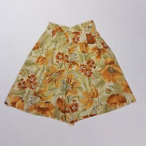 ObéIssant Vintage Short 80 S Bustier Taille Haute Jaune Orange Tiger Lily Floral | 4-afficher Le Titre D'origine