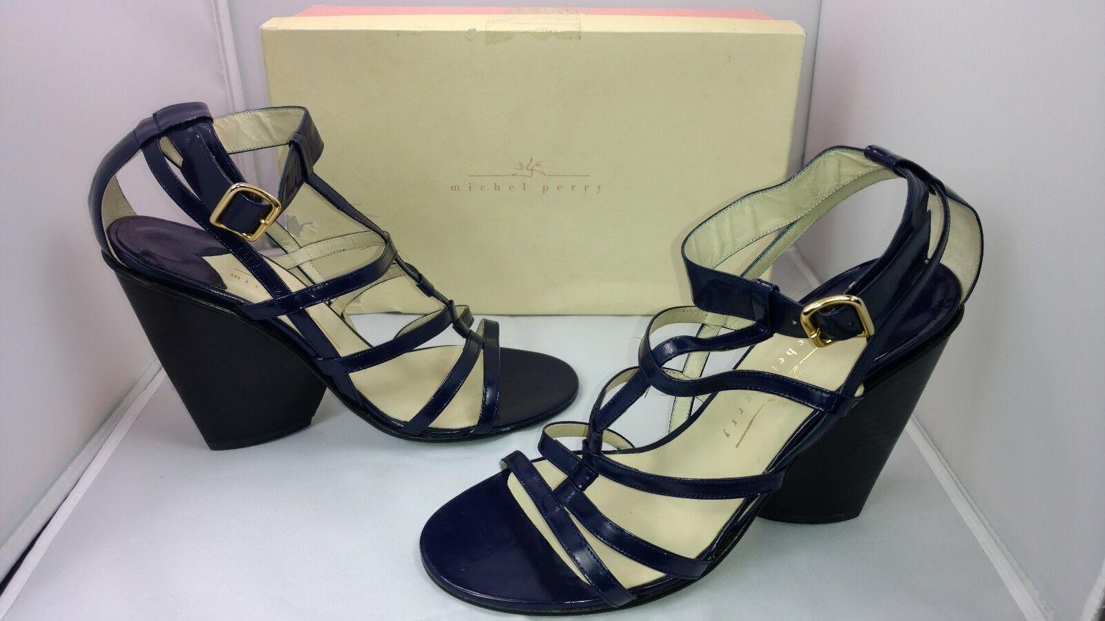 Designer Michel Perry bluee Leather Strap Sandals Wedge Heels  Women's 39