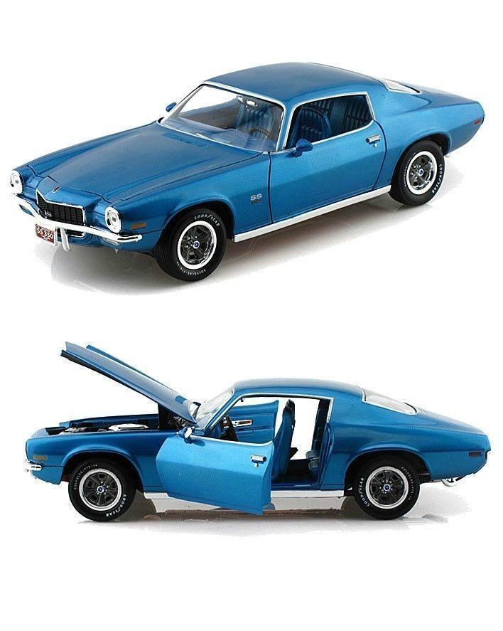 1  18 aut World World World   Ertl 1971 Camaro ss350 azul f8c
