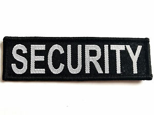 EMBROIDERED-SECURITY-PATCH-sew-on-cloth-badge-large-black-work-hat-jacket-coat