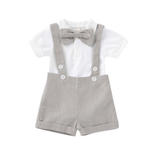 UK Baby Kids Boys Jumpsuit Short Sleeves Bow Trouser Suit Summer Casual Bodysuit