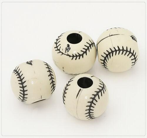 20x Resin Kunstharz Perlen Beads Schmuck DIY Basteln 11mm Ball Baseball rs036