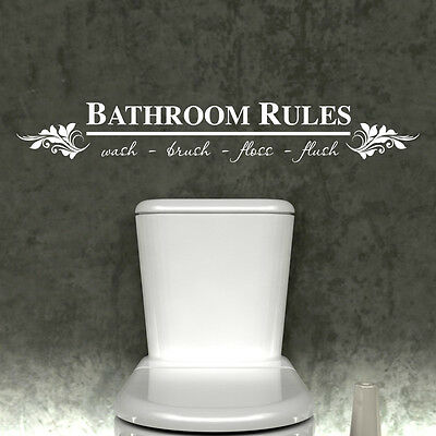 BATHROOM RULES WALL STICKER VINYL ART DECAL TOILET QUOTES TRANSFER w109