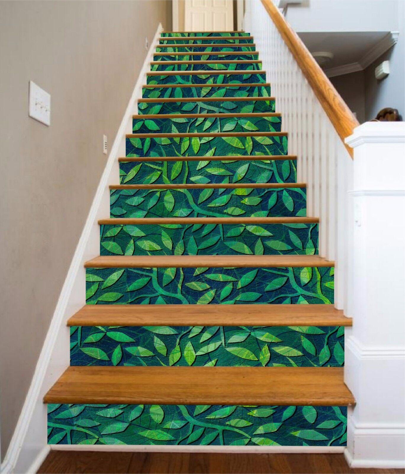3D Grün Leaves Painting 4Risers Decoration Photo Mural Vinyl Decal Wallpaper CA