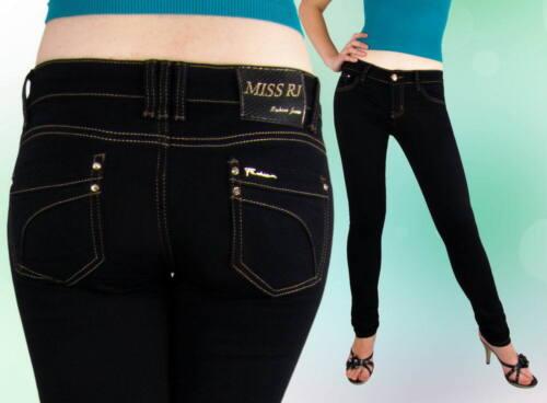 Damen Jeans Jeanshose Röhrenjeans Niedrig Hüftig  Schwarz  38 40
