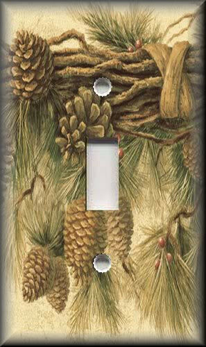 Light Switch Plate Cover - Rustic Pine Cones - Lodge Decor - Cabin Home Decor