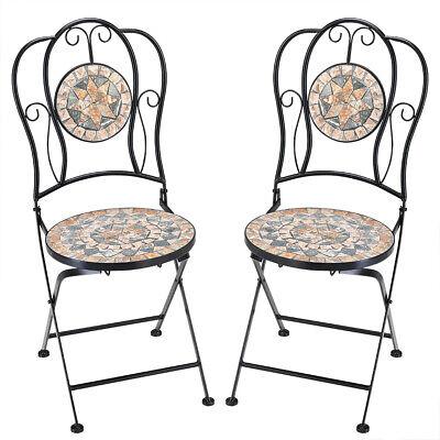 2x Mosaikstuhl Set Mosaikstühle Bistrostühle Mosaik Metall Klappstühle Malaga   eBay
