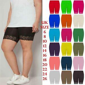 Ladies Scallop Lace Trim Elasticated Waist Cycling Short Womens Gym Wear Short
