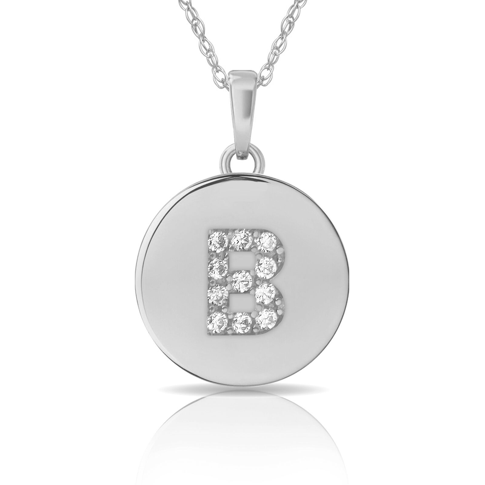 14K White gold Round Solitaire Disc Initial Letter  B  Flat Pendant 0.20Ct