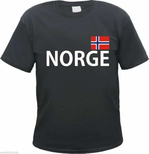S to 3XL Norwegian Holiday Norway Black with Flag Print Norge T-Shirt