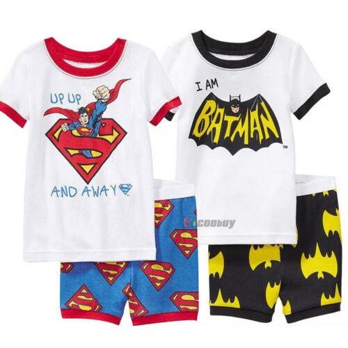 Summer Kid Boy Superman Batman Short Sleeve T-shirt Top Shorts Pant Set Outfits