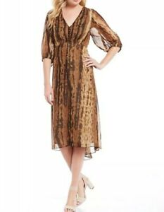 Anthropologie-Taylor-Womens-Midi-Fit-And-Flare-Cocktail-Surplice-Dress-Size-14