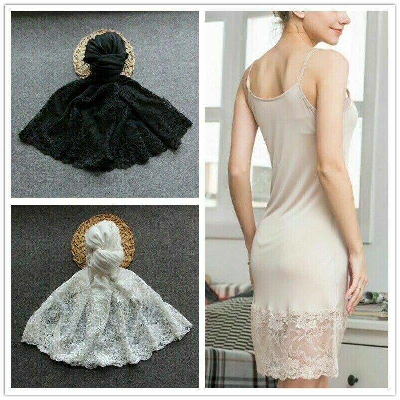 Seide Damen Spitzen-Petticoat Kleid Rutscht Nachthemd Riemchen Hemd Unterrock