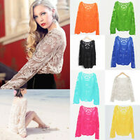 Sunscreen Women Semi Sheer Embroidery Floral Lace Crochet Tee T-Shirt Top Blouse