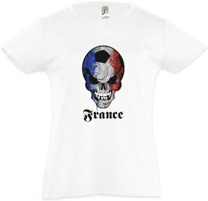 FOOTBALL-FRANCE-SKULL-FLAG-Kinder-Maedchen-T-Shirt-Fan-Hooligan-Banner-Frankreich