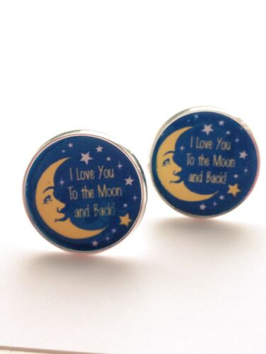 Love you to the Moon /& Back// Mens cuff links// Mens Jewelry// Wedding// Anniversary