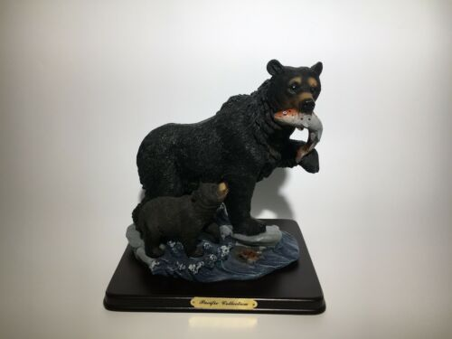 Black Bear and Bear Cub Collectible Figurine Statue Home Decor Animal Gifts.