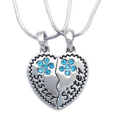Sister Sister Best Friend Forever BFF Heart Aqua Flower Pendant Necklace