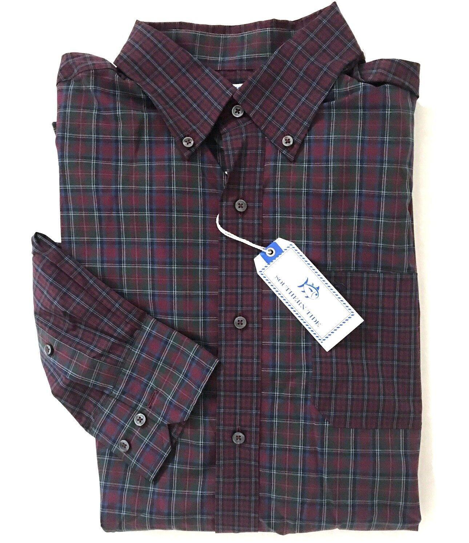 SOUTHERN TIDE Medium Tawny PORT Plaid Classic Button Down Shirt  NWT New M