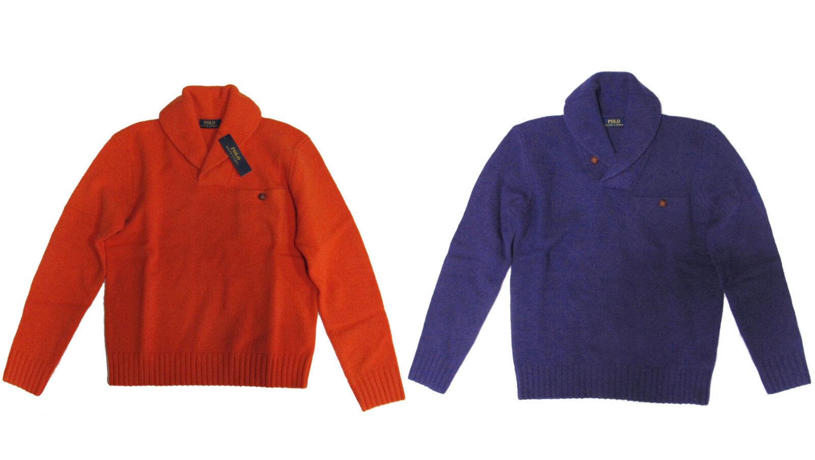 Polo Ralph Lauren  Herren Heavy Wool Angora Knit Shawl Collar Leder Sweater New