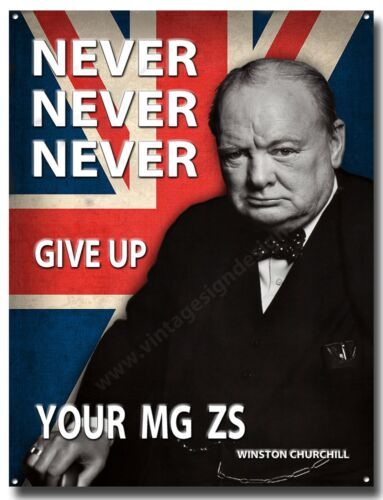 NEVER NEVER NEVER GIVE UP YOUR MG ZS METAL SIGN A3 MG ZS