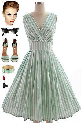 50s Style MINT & WHITE STRIPE Bombshell PINUP Surplice Sun Dress w/ FULL Skirt