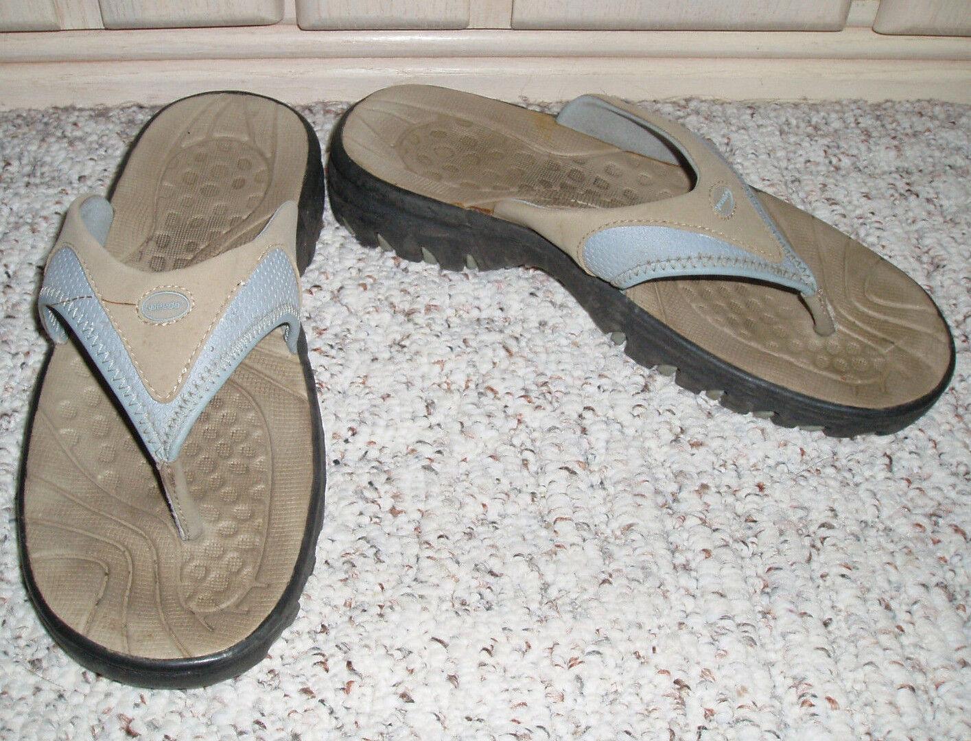 SPEEDO Thong Style Sandals 10 Heels~Beige/Light Blue ~ Size 10 Sandals d95903
