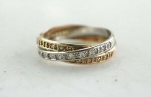 Edler-Ring-585er-14-Kt-Ring-mit-Diamantsplitter-Goldring-Tricolor-3-40g-Gr-51