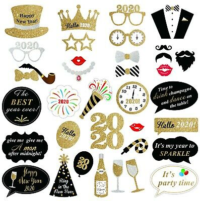 37PCS 2020 Glitter New Year's Eve Party Card Masks Photo ...