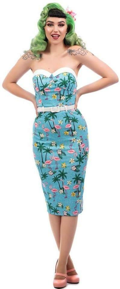 Collectif Monica Tropical Flamingo Blau Pencil Dress
