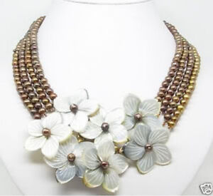 4-Rows-6-7mm-Chocolate-pearl-MOP-flower-Shell-necklace