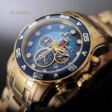 Invicta Disney Mickey Mouse Pro Diver Scuba Gold IP SS Blue Dial L.E. Mens Watch
