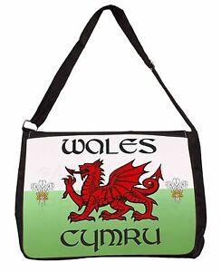 Pays De Galles Cymru Gallois Cadeau Large Noir Ordinateur Portable Sac à bandoulière école/College, Pays de Galles - 1SB  </span>