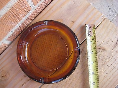 "Vintage 6"" Diameter Brown Amber Glass Cigar Cigarette ASHTRAY"