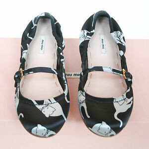 017547d0053 MIU MIU black satin Duchesse Cat print shoes SS10 kitty ballet flats ...