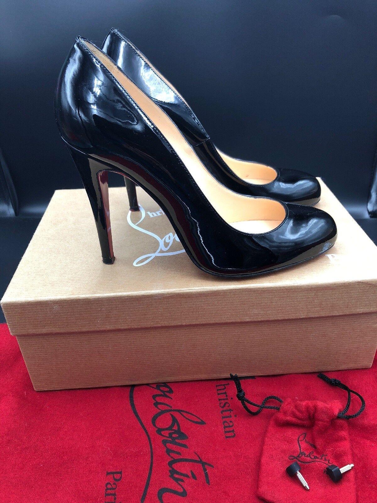 Christian Louboutin ron Ron 100 noir court Verni Verni Verni Talons Chaussures Taille UK 4 EU 37 54f988