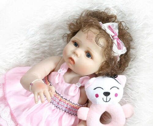 """Reborn Baby Doll Girl 22/"""" Full Vinyl Silicone Anatomically Correct Curly Hair"""