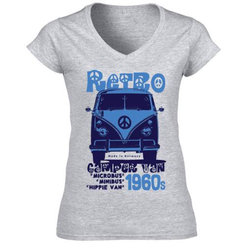 CAMPERVAN RETRO 1 NEW COTTON GREY LADY TSHIRT