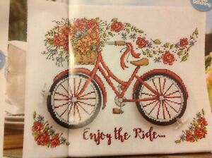 Summer Bicycle Bike And Flowers Roses Cross Stitch Chart C