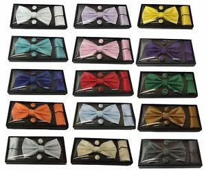 New-3-Pcs-Set-Woven-Silk-Bow-Tie-Cufflinks-and-Pocket-Square-Handkerchief-Gift
