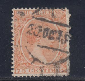 ESPANA-1889-01-USADO-EDIFIL-225-75-cts-ALFONSO-XIII