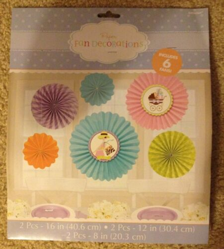 MODERN MOMMY BABY SHOWER 6 Fan Decorations MOMMY TO BE Banner Party Supply